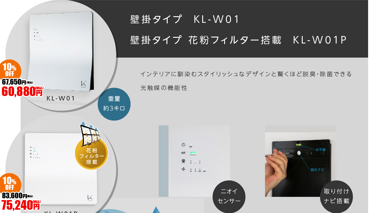 壁掛けタイプ KL-W01 壁掛けタイプ 花粉フィルター KL-W01P